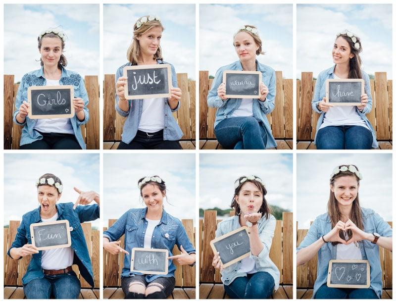 Photo EVJF, groupe de copines, Angers, amitié, confettis, blues jeans, headband fleur
