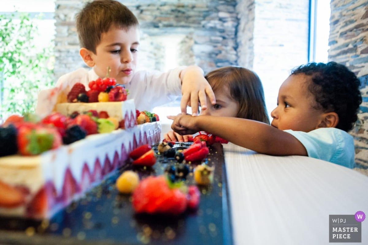 Les enfants mettent les doigts dans le gâteau des mariés au Fief de la Thioire